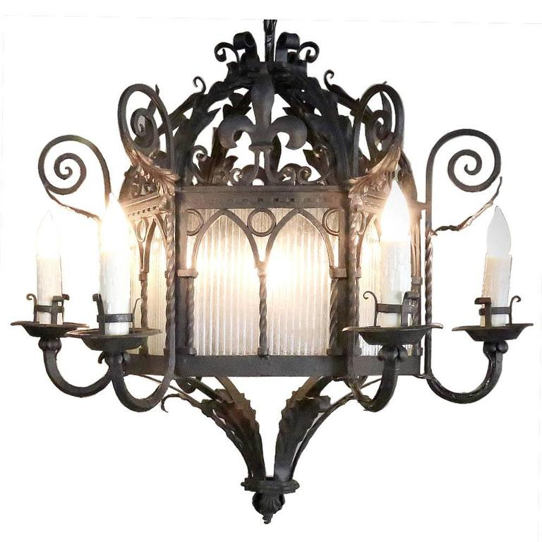 Antique country french wrought iron lantern chandelier at 1stdibs antique country french wrought iron lantern chandelier for sale aloadofball Image collections