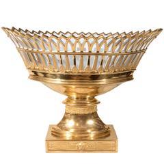 Antique French Porcelain Gilded Basket