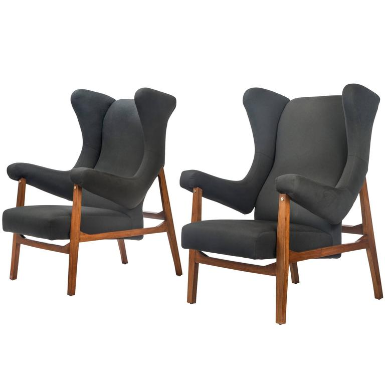 Franco Albini, Pair of Rare Italian Fiorenza Upholstered Armchairs For Sale