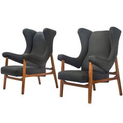 Franco Albini, Pair of Rare Italian Fiorenza Upholstered Armchairs