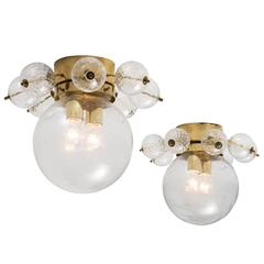 Set of Two Ceiling Lights in Brass and Structured Clear Glass