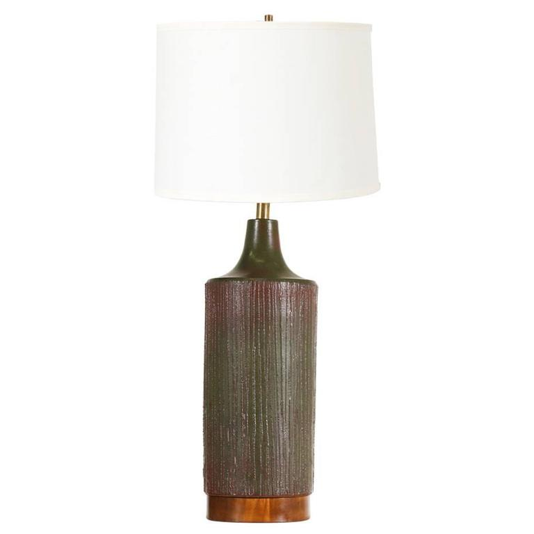 California Olive Green Ceramic Table Lamp by David Cressey