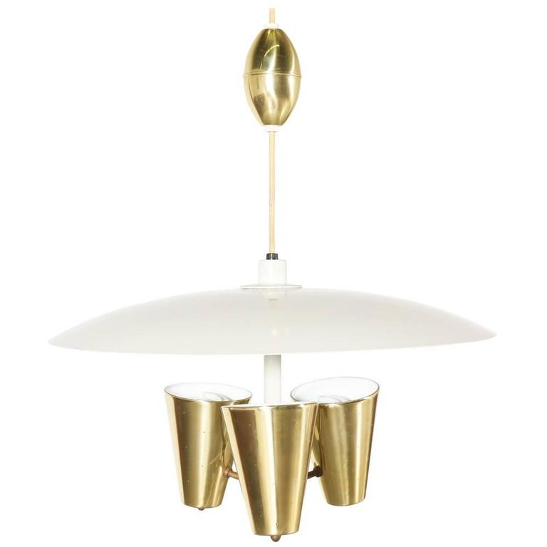 Edward J. Wormley Enameled Metal and Brass Three-Light Chandelier for Lightolier