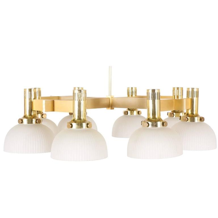 Large Eight-Arm Brass Chandelier with Frosted Shades by Lightolier