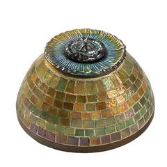 Tiffany Studios New York Mosaic Favrile Glass and Bronze Inkwell