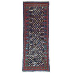 Antique Kuba Long Rug with Gentle Wear