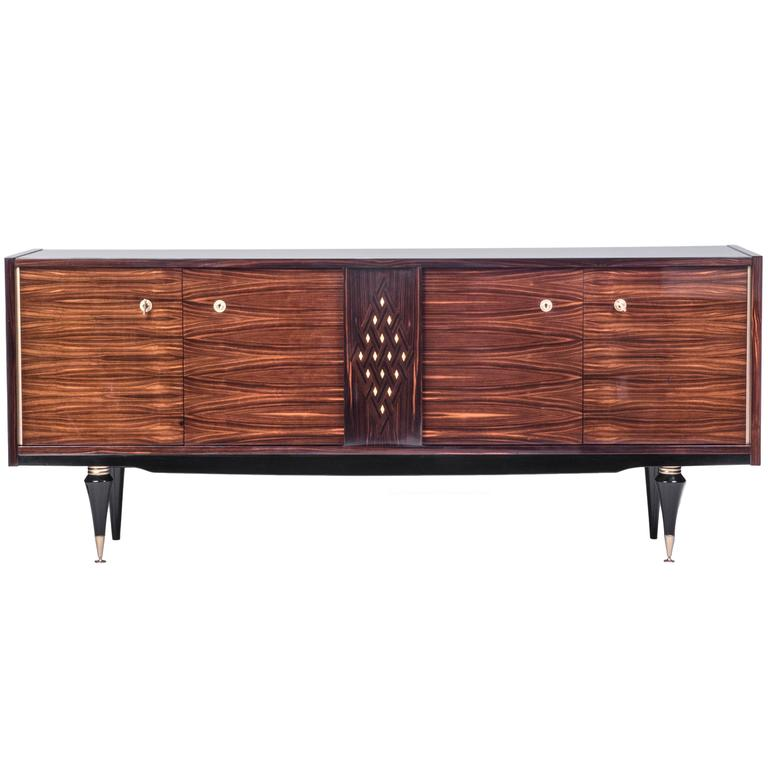 Rare French Art Deco Buffet Sideboard In Blonde Macar Ebony For