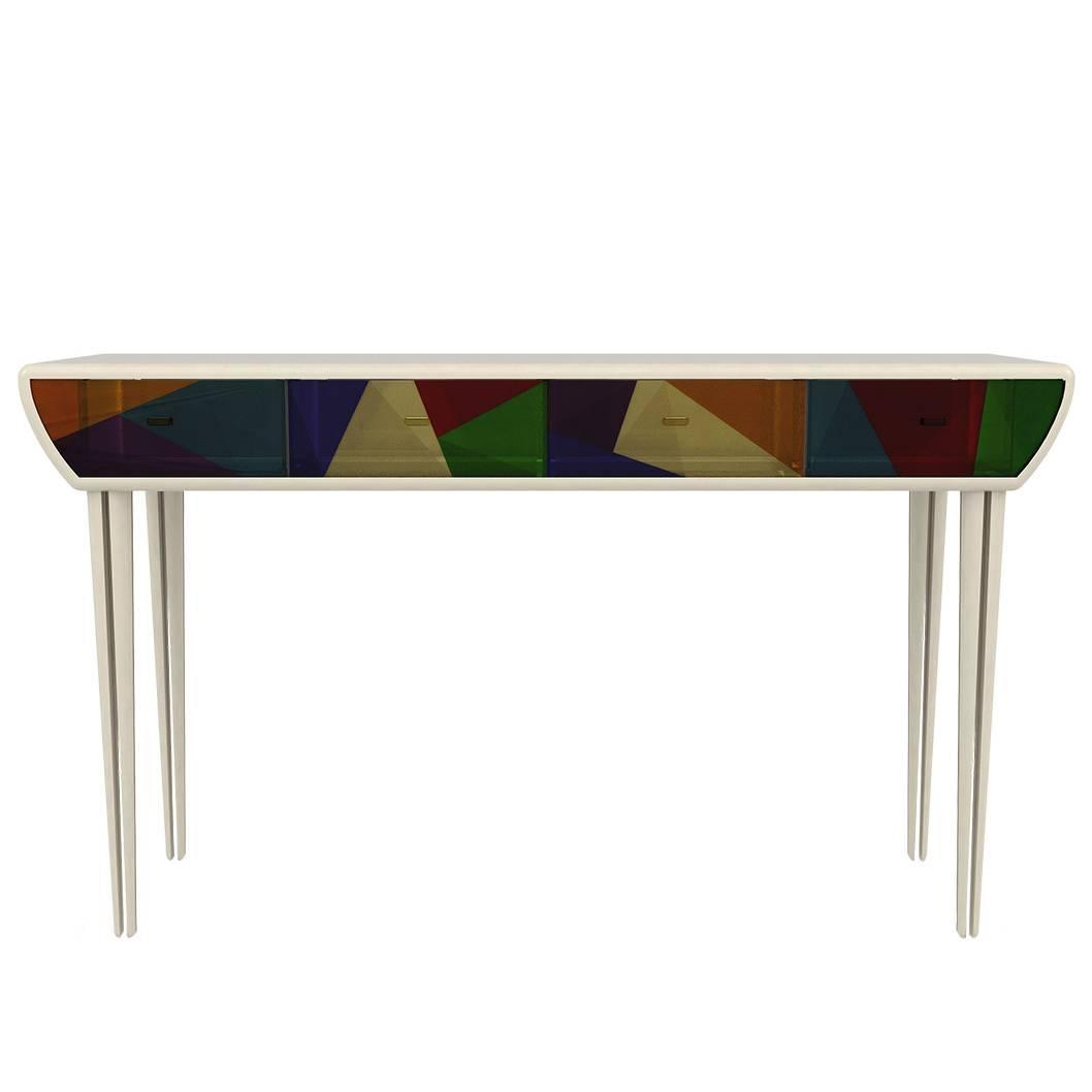 European modern lacquered wood stained glass acrylic - Contemporary console tables with drawers ...