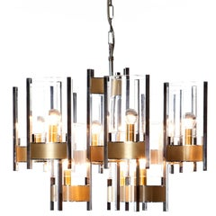 1960's 9 light Chrome and Glass Chandelier by Gaetano Sciolari