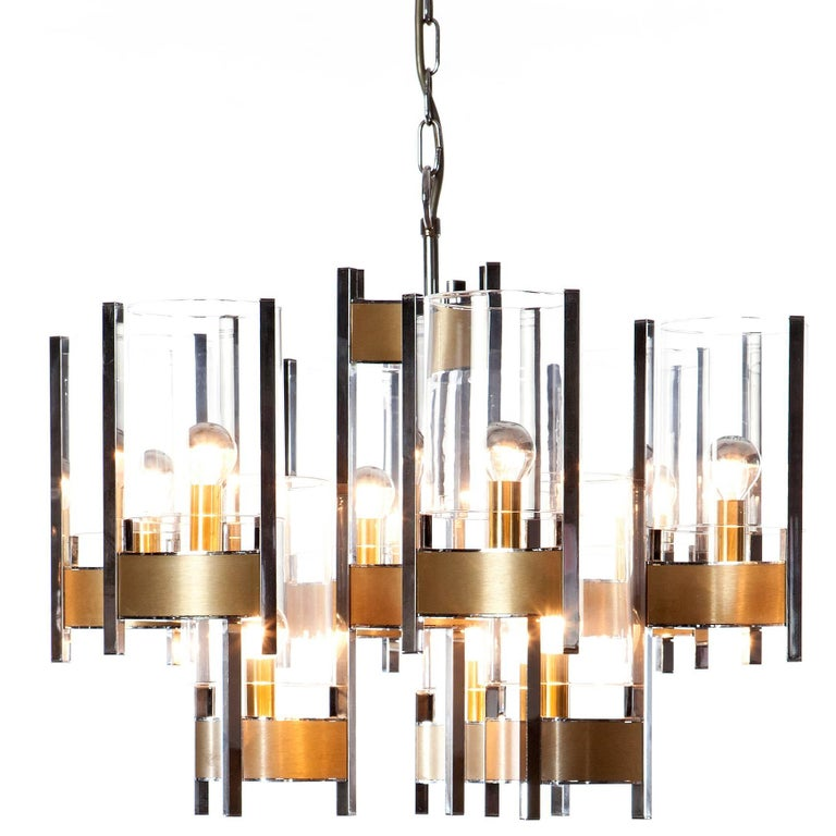 1960's 9 light Chrome and Glass Chandelier by Gaetano Sciolari For Sale