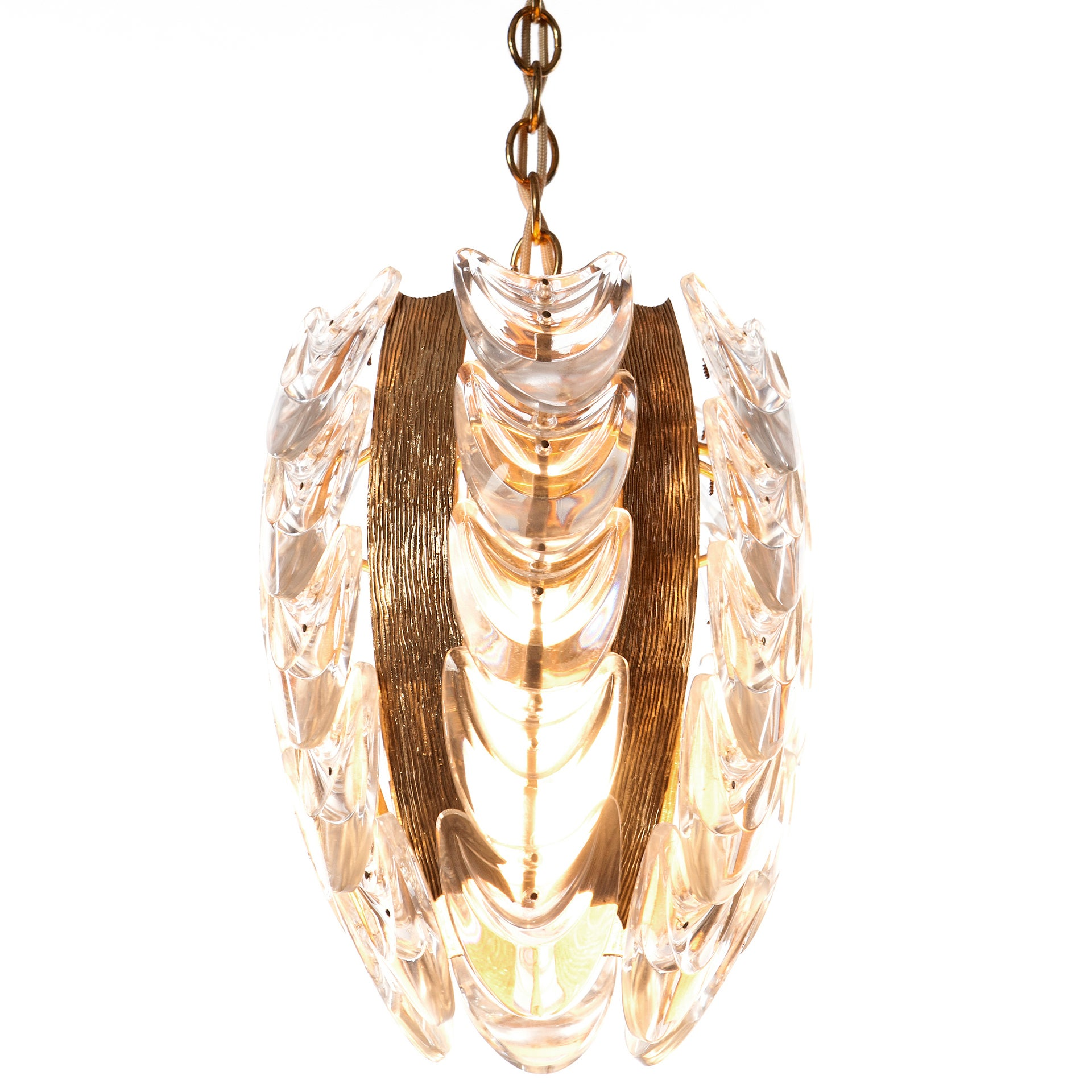 Palwa 1960s Stylish Glass & Brass Pendant Light