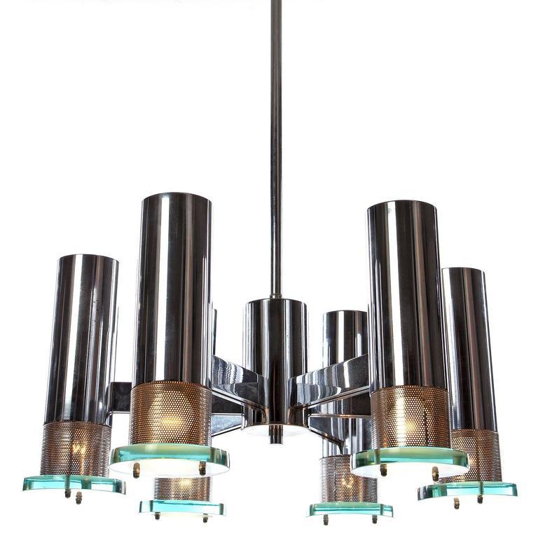 Attributed to Fontana Arte 1960s Chandelier Light