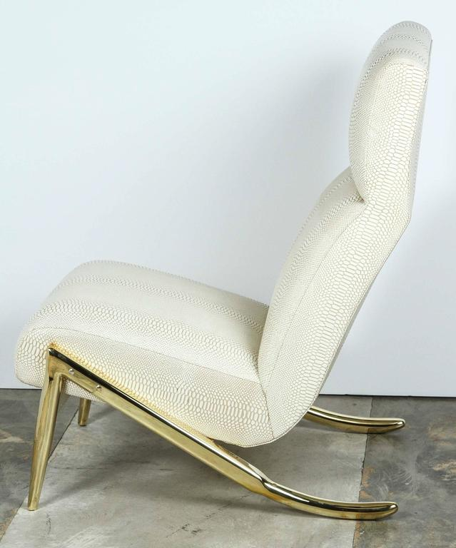 Modern Paul Marra Slipper Chair in Brass with Faux Python For Sale