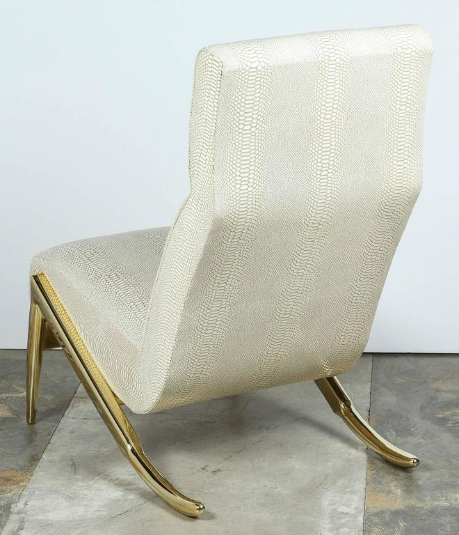 Paul Marra Slipper Chair in Brass with Faux Python In Excellent Condition For Sale In Los Angeles, CA