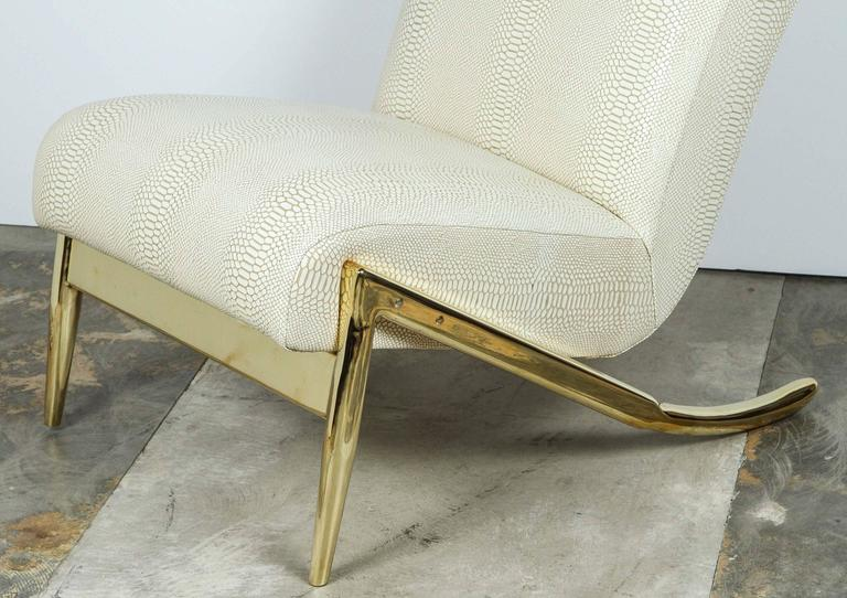 American Paul Marra Slipper Chair in Brass with Faux Python For Sale