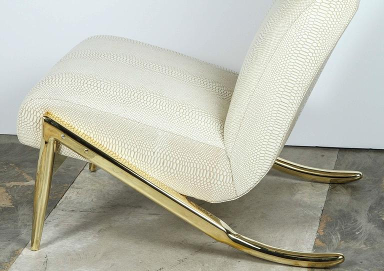 Contemporary Paul Marra Slipper Chair in Brass with Faux Python For Sale