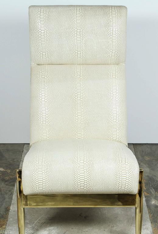 Paul Marra Slipper Chair in Brass with Faux Python For Sale 1
