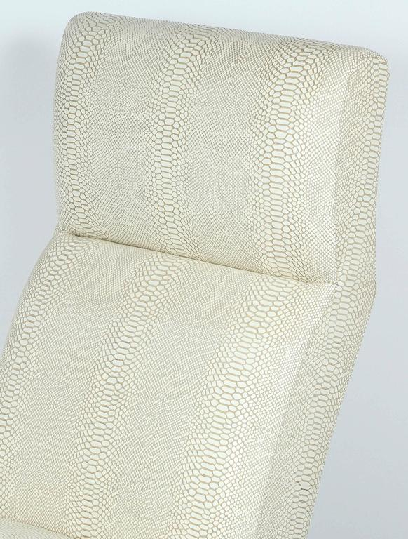 Paul Marra Slipper Chair in Brass with Faux Python For Sale 3