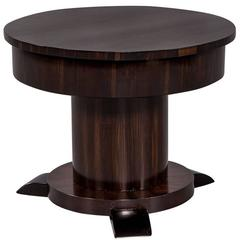 French Macassar Ebony Round Side Table with Hidden Interior Bar
