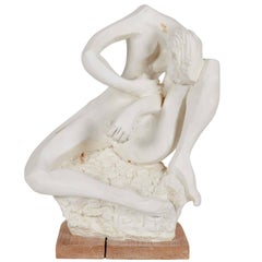 Cubist Sculpture in Plaster on Wood Base, Unsigned