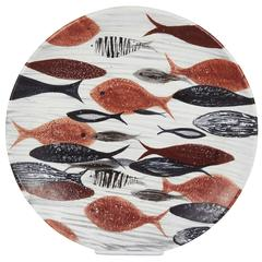 Large Ceramic Plate with Fish Motif, Signed Reyes