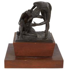 Gerald Fellman Sculpture with Two Female Figures on Rotating Base, Signed
