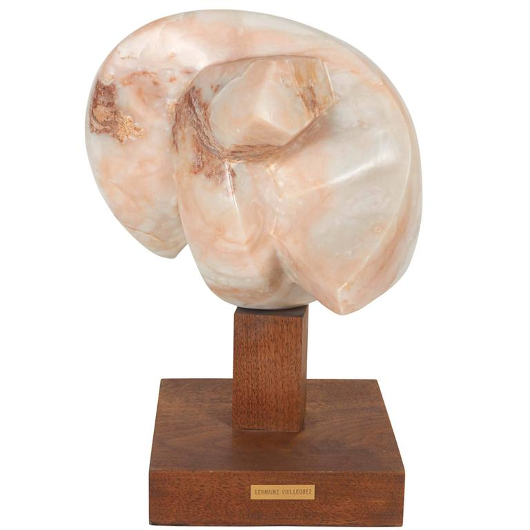 Germaine Vuillequez Abstract Pink Marble Sculpture on Base