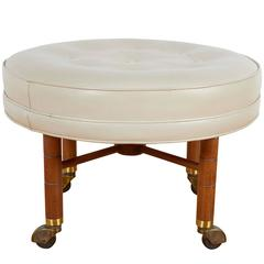 Rolling Ottoman with Round Leather Seat