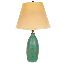 Lava Glazed Teal Pottery Lamp