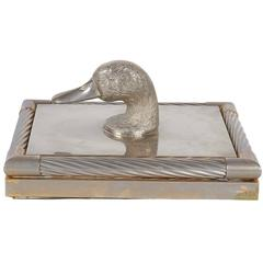 Decorative Lidded Box with Duck Finial