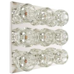 Peill & Putzler Wall and Ceiling Light Fixture in Chrome with Faceted Glass