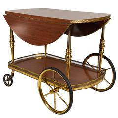 Italian 1960s Drop-Leaf Bar Cart