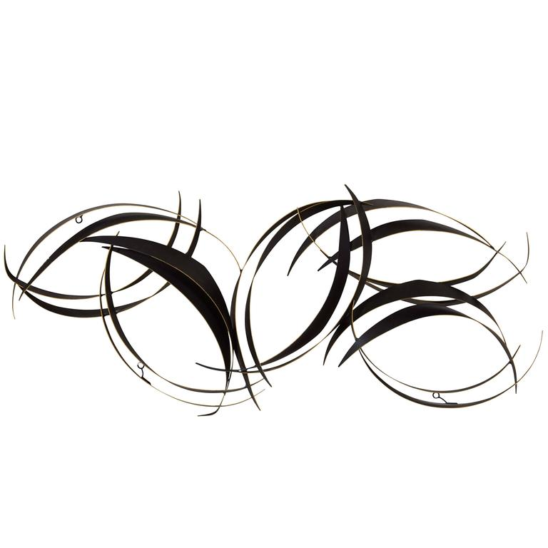 Curtis Jere Abstract Black Metal Wall Sculpture 1