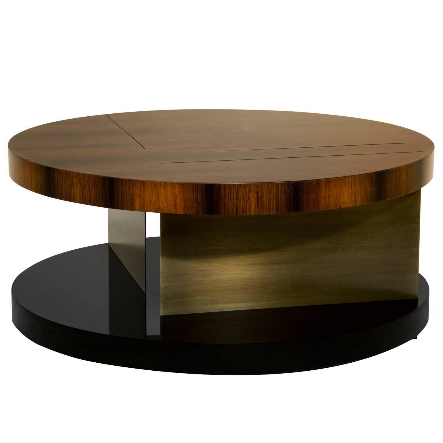 Chloe Round Coffee Table With High Glossy Lacquer Veneer Wood And Brass For Sale At 1stdibs