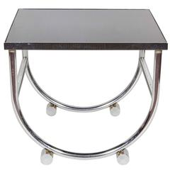 Donald Deskey Style Chrome Side Table with Black Glass Top