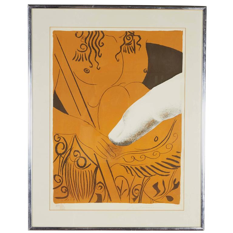 Mid-Century Surrealist Silkscreen Print with Finger, Signed and Dated