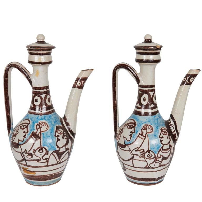 Pair of Giovanni de Simone Italian Glazed Ceramic Ewers For Sale