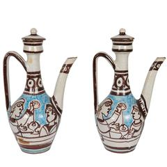 Pair of Giovanni de Simone Italian Glazed Ceramic Ewers