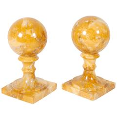 Pair of Yellow Marble Raised Ball Bookends