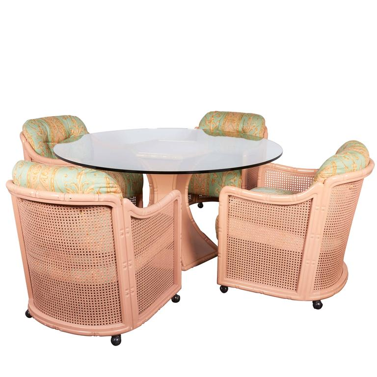 Giorgetti hollywood regency faux bamboo dining set at 1stdibs