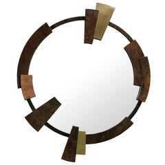 Times Round Mirror with Walnut Root Veneer, Brass and Copper Frame, Flat Mirror