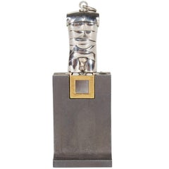 Berrocal Micro David Sculpture Pendant on Rare Original Stand, Italy 1970s