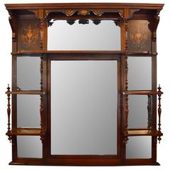 Antique Rosewood and Inlaid Overmantel Mirror