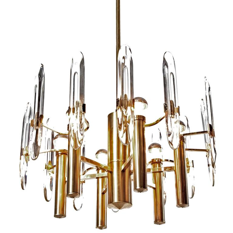 Gaetano Sciolari Six-Light Gold-Plated Brass and Crystal Glass Chandelier, 1960s