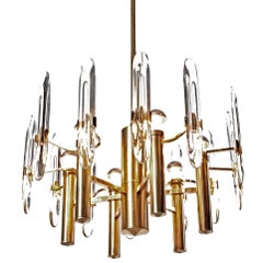 1960's Six-Light Gold-Plated Brass and Crystal Glass Chandelier by G. Sciolari