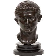 19th Century Bronze Bust of Roman Emperor Augustus