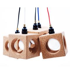 Worm Hole Pendant Light Made from Cork