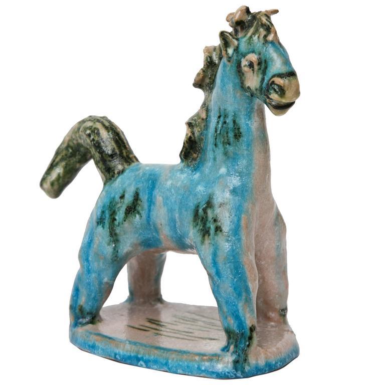 Italian Signed Gambone Glazed Ceramic Horse