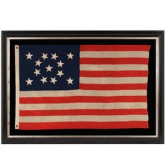 13 Hand-Sewn Stars in a Beautiful Medallion Configuration on a Small-Scale Flag