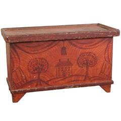 Antique Paint Decorated Diminutive Blanket Chest